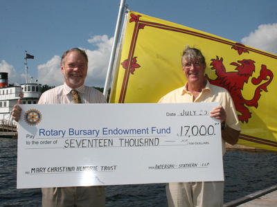Rotary Bursary Endowment Fund Donation August 3, 2011