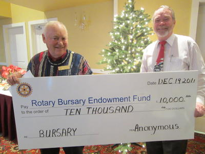 Rotary Bursary Endowment Fund Donation December 21, 2012