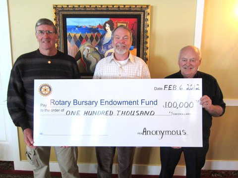 Rotary Bursary Endowment Fund Donation Feb 2012