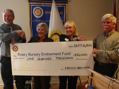Rotary Bursary Fund Donation September 10, 2012